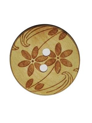 Houten knoop Bloemen - 30 mm