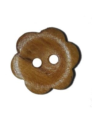 Houten knoop Bloemen - 12 mm
